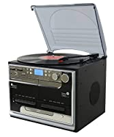 Steepletone SMC386 Compact BT - 8 in 1 Music Center with Bluetooth* - 3 Speed Record Player- CD Player - FM & MW Radio - Playback & Encode RECORDING to USB/SD - TWIN Cassette Player & RECORDER -(Connect and play Music from a Mobile Phone, iPhone, iPod, MP