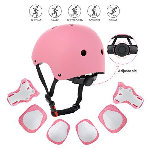 ner Set 7pcs Sport Schutzausrüstung Verstellbar Skateboard Helm Ellbogenschutz Set für Radfahren Roller Inliner Skates Rollschuhlaufen und Outdoor Aktivitäten ()