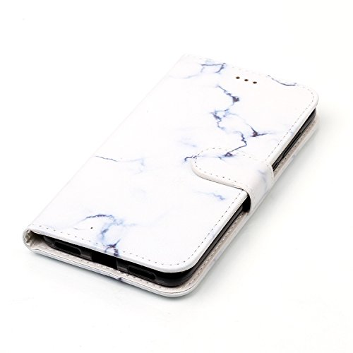 Coffeetreehouse Case Cover For iphone 7,Or Rose conception portefeuille magnétique supporter PU cuir de flip protection housse coque étui Case Cover avec Stand Support Avec des Fente de Cartes Crédit  marbre blanc
