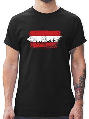 Länder - Österreich Vintage - L - Schwarz - L190 - Herren T-Shirt und Männer Tshirt