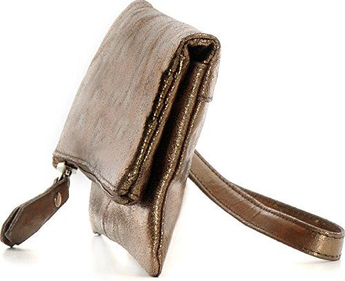 CNTMP, Damen Handtaschen, Clutch, Clutches, Clutchbags, Unterarmtaschen, Partybags, Trend-Bags, Metallic, Leder Tasche, 21x11x2,5cm (B x H x T) Bronze