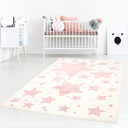 Taracarpet Kinderzimmer und Jugendzimmer Teppich Dreamland Kinderzimmerteppich Sterne Creme rosa 120x170 cm