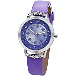Dovoda Girls Watches Leather Band Flower Dial Diamonds Watch for Kids