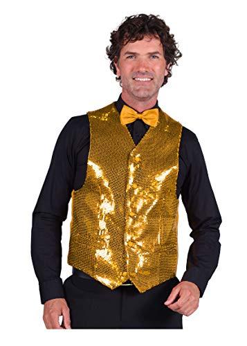 T0978-1400-3XL Gold Herren Pailletten Weste Show Kostüm - Herren Pailletten Weste Kostüm