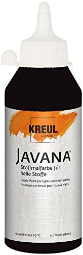 (Kreul 91310 - Javana Stoffmalfarbe für helle Stoffe, brillante Farbe mit cremigem Charakter, 250 ml Flasche, schwarz)