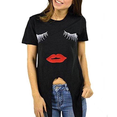 ESAILQ Bekleidung Damen ESAILQ damen Sommer Wimpern Top Kurzarm Bluse Casual Lose Tops T-Shirt (M, Schwarz-2)