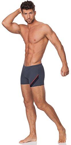 Hommes Shorts de Bain Modèle Bob Graphite/Noir/Rouge