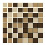FoLIESEN Fliesenaufkleber für Bad und Küche - 15x15 cm - Mosaik beige-braun - 22 Fliesensticker für Wandfliesen