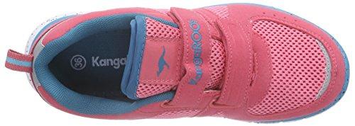KangaROOS Nara, Mädchen Sneakers Pink (salmon/dk smaragd 684)