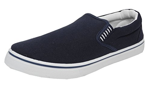 Mens Boys Canvas Boat Yachting Deck Shoes Slip On Pumps DEK Blue Size 10