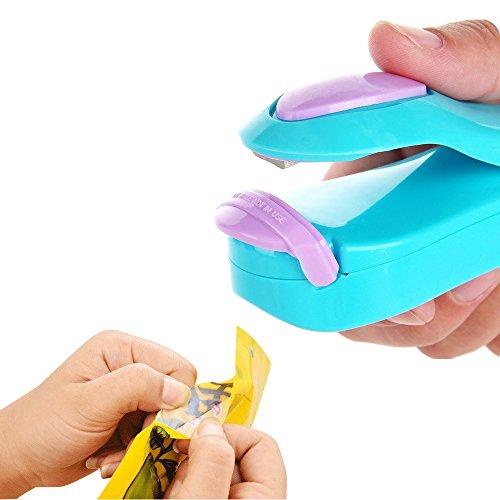 JINSANSHUN Neumodisch Mini Portable Haushalt Hand Sealer Heißsiegelmaschine Vakuumiergerät Folienschweißgerät Sealer Sealing Machine fuer Plastic Bag Plastiktüten - blau