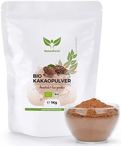NaturaForte Bio Kakao-Pulver 1kg - Stark Entölt, Zuckerfrei, 11% Fett, Super-Food, Vegan, Rein und Glutenfrei, Intensives Aroma aus hochwertig Cacao-Bohnen, Trinkschokolade in Rohkost-Qualität