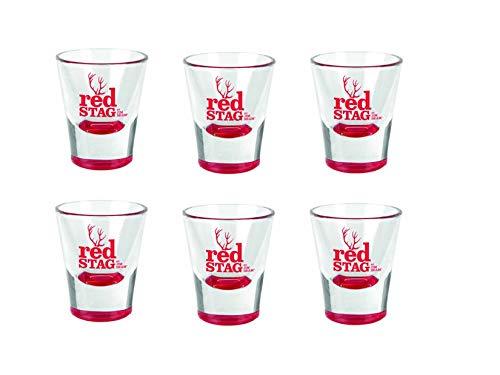 Jim Beam RED STAG Gläser, 6er Set Bar Glasses 2Cl/4Cl Red Martini-glas