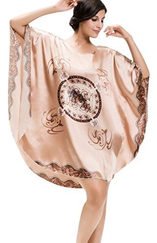 Edith qi Donna Pigiama Kimono,estaglie Corto Raso Fiore Camicia da Notte, Plus Size & Multicolor 7050-Cavallo Cachi