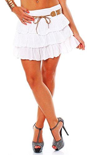 ZARMEXX süsser Damen Volantrock Sommerrock Minirock mit Gürtel