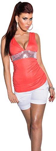 In-Style Damen Träger-Top mit V-Ausschnitt & Pailletten verziert Einheitsgröße (34-38) Coral