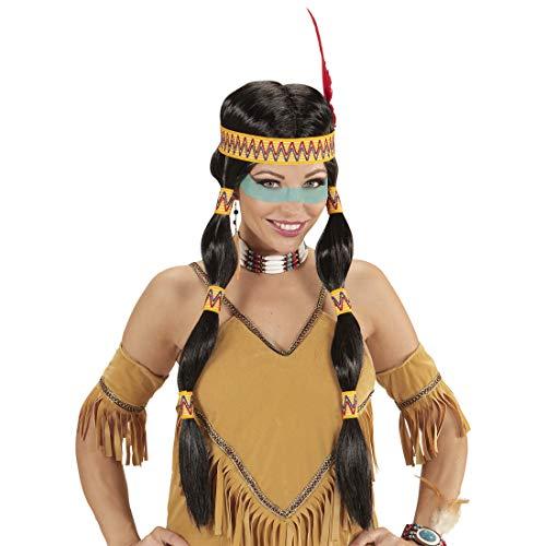 NET TOYS Indianer-Frau Perücke mit Stirnband & Federschmuck | Schwarz-Gelb | Außergewöhnliches Damen-Kostüm-Zubehör Faschingsperücke Indianerin | Bestens geeignet für Fasching & (Indianer Frau Kostüm)
