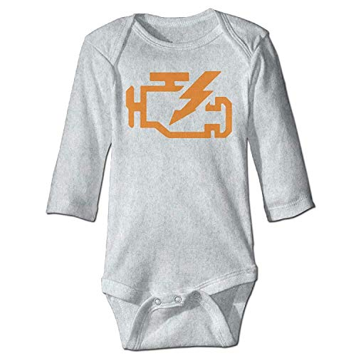 MSGDF Unisex Newborn Bodysuits Check Engine Light Girls Babysuit Long Sleeve Jumpsuit Sunsuit Outfit Ash - Womens Green Check