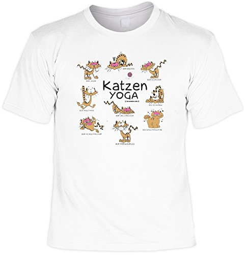 Lustiges Fun T-Shirt für Katzenfreunde Katzen Yoga Set mit Gratis Mini T-Shirt Katze Cat Geschenk für Tierfreunde Katzenshirt Weiß