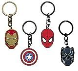 ABYstyle - Marvel - Set 4 Porte-clés Logo métal (Iron-Man, Captain America, Spiderman, Black Panther)