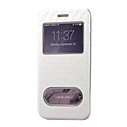 iPhone Case Cover Carré de diamant motif en treillis cuir PU boîte de vitrine souple TPU cas de support de couverture avec slot pour carte IPhone 6 6s plus ( Color : Purple , Size : Iphone 6S Plus ) White