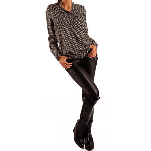 Damen Bluse Tunikabluse Rundhalsausschnitt Beige/Schwarz2