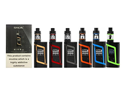 GENUINE SMOK ALIEN KIT COLLECTION 220W w/ 2 X EFEST-VAPORCOMBO Exclusive 3000 mAh Battery E-Cigarette 2mL TPD Compliant (Black/Red)