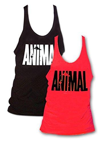 2unidades para hombre Animal Carta Impresión Muscle Gym Stringer Tank Top para culturismo