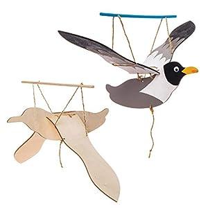 Baker Ross- Kits de Marionetas de madera con forma de gaviota (Pack de 3) - Actividad de manualidades infantiles para crear