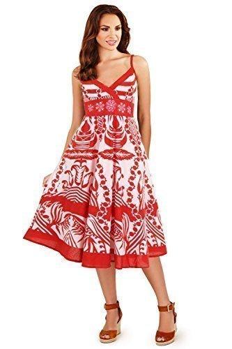 donna-pistachio-estivo-a-pois-fiori-midi-cotone-beach-sun-dress-red-floral-striped-taglia-s-eu-8-10