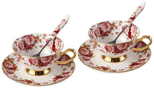 Touch Life - Ensemble de tasses de thé en porcelaine avec soucoupes - Motifs floraux blancs et rouges, Porcelaine, Multicolor,2 Sets, Set of 2 with gift box