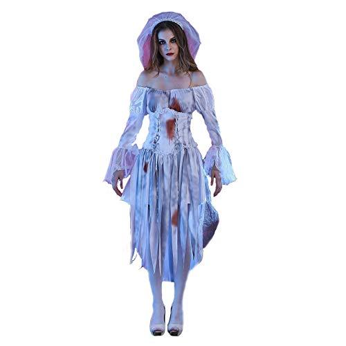 Z&X Geisterbraut Damen Miss Havisham Halloween Abendkleid Kostüm Corpse Bride Deluxe Weiß...