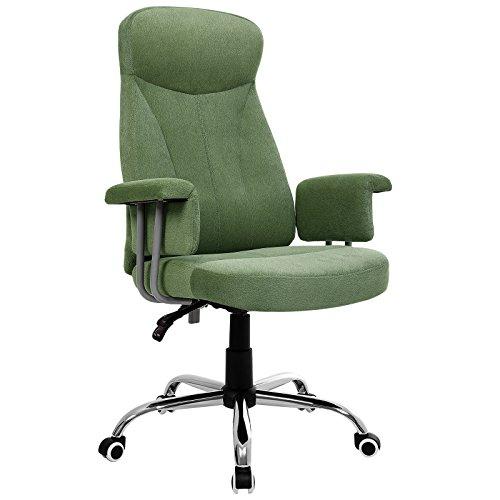 SONGMICS Silla de oficina, Respaldo alto, Altura ajustable, Respaldo reclinable hacia atrás, Funda de terciopelo,Verde, OBG41L