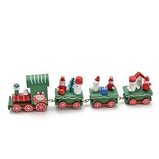 Trenes de Juguete,4 Piezas de Madera Navidad Tren de Navidad decoración hogar decoración ni?os Trenes de Madera Juguete Feliz Navidad Regalos