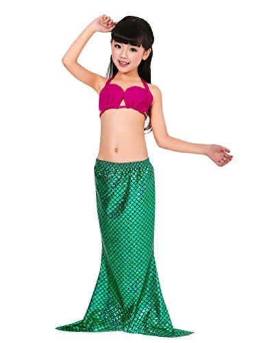 Missfox ragazze coda da sirena swimwear 3pieces bikini costume costume carnevale travestimento da sirenetta as picture m