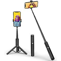 ATUMTEK Selfie Stick Trépied Bluetooth, Mini Perche Selfie Extensible en Aluminium 3 en 1 avec télécommande sans Fil à Rotation 360° Rotation pour iPhone XS Max/XS/XR/X/8/7, Samsung et Smartphones