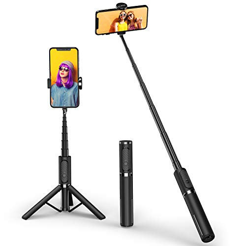 ATUMTEK Bluetooth Selfie Stick Stativ, Mini Ausziehbarer 3 in 1 Selfiestick aus Aluminium mit Kabelloser Fernbedienung um 270° Drehbar für iPhone 11/11 Pro/XS Max/XS/XR/X/8/7, Samsung Smartphones