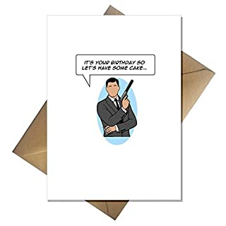 Funny TV's Archer Birthday Card - Let's Have Some Cake.