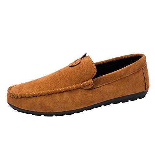 Skxinn Herrenschuhe/Herren Klassische Mokassin Weich Comfort Wildleder Loafers Schuhe Minimalistisch Flache Fahren Schuhe Bootsschuhe Slippers,übergrößen 39-44 Ausverkauf(Braun,44 EU)