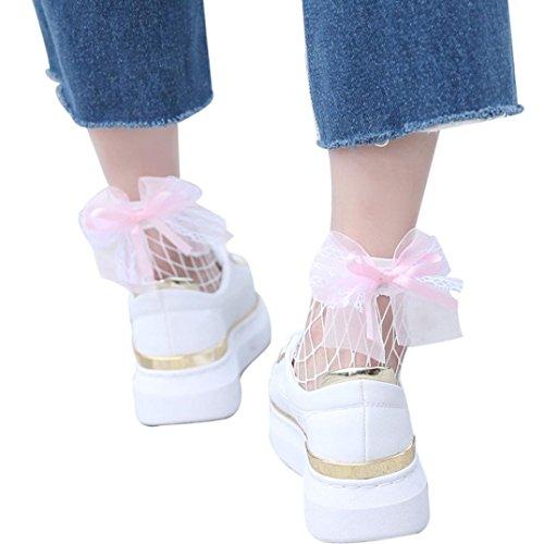 Hohe Knöchel Rüsche Fischnetz Socken Bluestercool Frauen Mesh Lace Fish Net Kurze Socken (Rüschen Kostüm Shorts)
