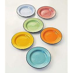 Botella Color platos de postre, DE cerámica, Color Negro, Turquesa/Verde/Amarillo/Rosa/Azul/Naranja