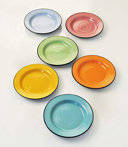 Deagourmet Dessertteller, Stoneware, Schwarz, Türkis, Grün/Gelb/Rosa/Blau/Orange - Dessert-teller
