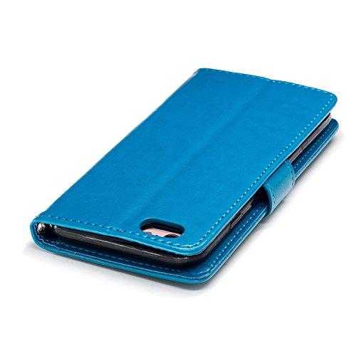 JAWSEU Coque Etui pour iPhone 6 Portefeuille Pu,iPhone 6S étui Folio en Cuir,iPhone 6S Coque à Rabat Magnétique Housse Etui de Protection Luxe Mode Relief Gaufrer Crâne Motif Ultra Slim Mince Pure Lea bleu
