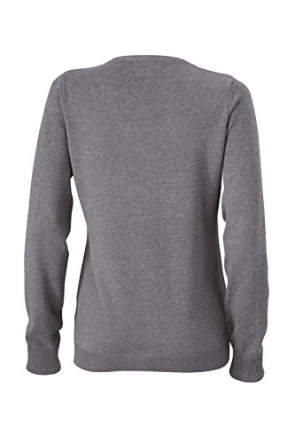 James & Nicholson Damen V-Neck Pullover Grau (Grey-Heather)