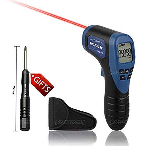Nktech Nk-300Laser Photo numérique Compte-tours sans contact Plage de mesure 2.5–99999RPM Résolution 0,1/1rpm Outil automatique et manuelle des données de rétroéclairage LCD Tenue Pistolet au mètre testeur de jauge