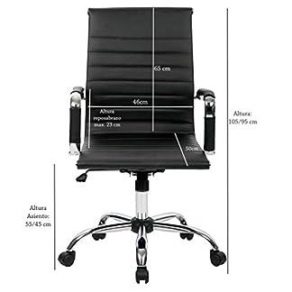 T-LoVendo TLV-SB1 Silla de Oficina Ergonomica Reclinable de Diseño Piel Cuero Sintetico Sillon, Negro, 70 x 54 x 49 cm