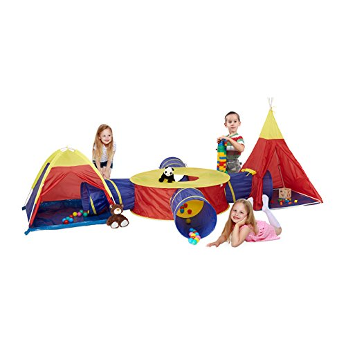Relaxdays Spieltunnel Zelt, Kinder, 7-tlg. XXL-Set, Outdoor, Tipi Spielzelt...