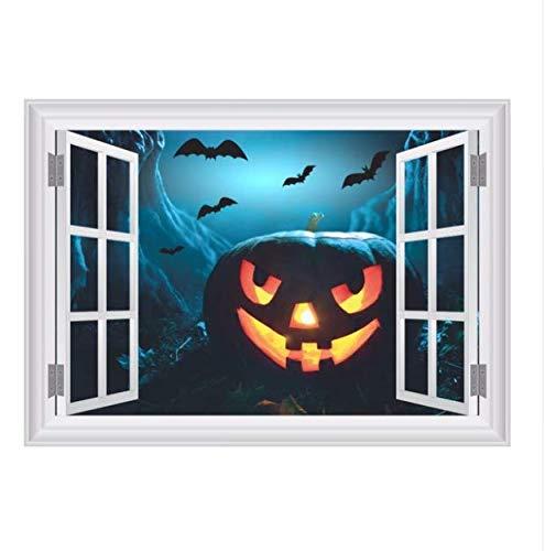 3D Gefälschte Fenster Angst Bat Sky Kürbis Kopf Wandaufkleber Für Halloween Party Dekoration Wohnzimmer Bar Club Wandtattoos