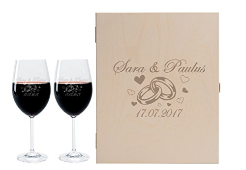 Leonardo 2 Weingläser mit Geschenkbox und Gravur Ringe zur Hochzeit Geschenkidee Wein-Gläser...