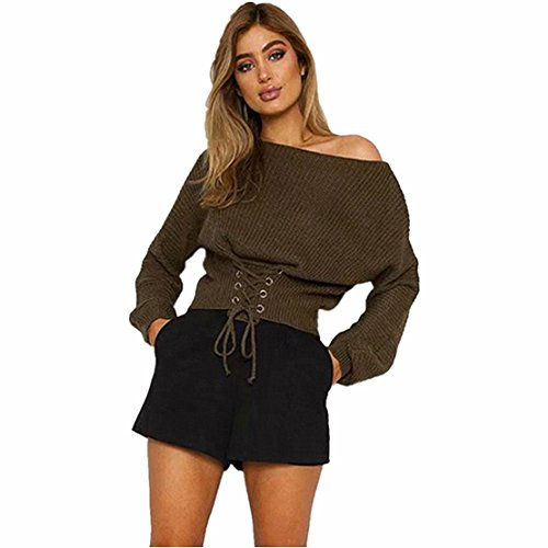 Reaso Pull Elegant Femmes Manches Longues Blouse Casual Chandail Chandail Automne Hiver Tricoter Bandage Pullover Tricot Sweater Loose Cardigan Ultra Blouson (Taille Unique, Armée Verte)